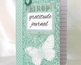 Gratitude journal, Gratitude notebook, Blessings note book, Thanks, Moments of happiness, Grateful, Mini notes, Aqua, Butterfly, Reminders