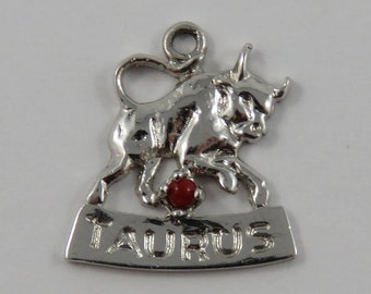 Taurus Zodiac With Red Stone Sterling Silver Vintage Charm For Bracelet