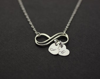 Infinity Personalized Necklace. Initial Double Infinity heart Necklace. monogram custom letter Infinity necklace.