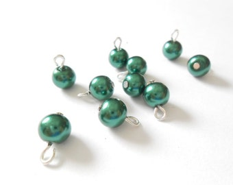 Dark Green Glass Pearl Dangle Beads