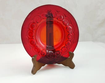Vintage Ruby Red Glass Plate, Rare Moon and Stars Dessert Plate, Ruby Red Pressed Glass, Moon and Stars Collectible Glass, Holiday Decor