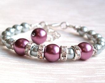 Gray Sangria Bridesmaid Bracelet, Bridesmaid Gift, Jewelry, Purple Light Gray Pearl Rhinestone Bridesmaid Bracelet, Flower Girl Jewelry