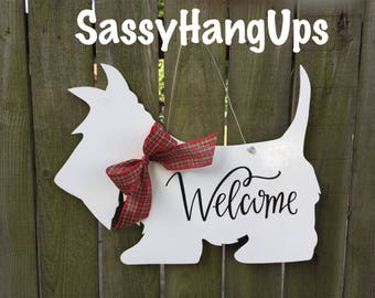 Scottie Dog Door Hanger, Scottie Dog, Scottish Terrier, Wheaton Scottish Terrier Door Hanger, Scottie Dog Welcome Sign, Scottie Dog Decal