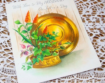 1940'S Father's Day Card, With Love To Husband, Vintage Greeting Card, Mid Century, Old Card   (112-14)
