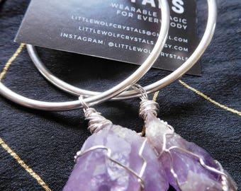 Purple Haze Amethyst Hoop Earrings