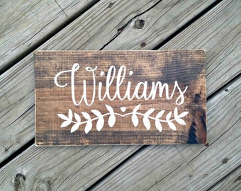 Last name sign, personalized wedding gift, custom engagement gift, wood name sign, bridal shower gift, custom wedding gift, anniversary sign
