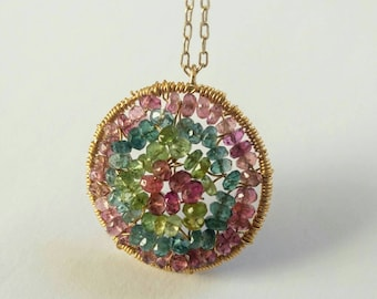 Watermelon Tourmaline faceted rondelle wire wrapped pendant necklace in gold