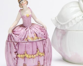 Antique Vanity Box -German porcelain trinket box, Powder Jar, hand painted figurine in pink ballgown will look great on your dressing table