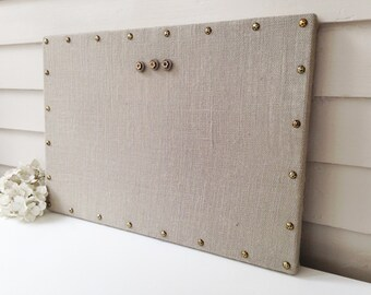 Burlap Magnetic Bulletin Board - Memo Organizer - 15 x 22 Ash Gray Burlap Fabric Hardwood Base Frame and Brass Upholstery Nail Head Tacks