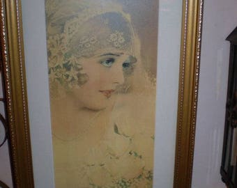 Vintage French Print in Frame,La Mariee,The Bride,Great condition.