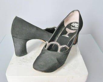 Black Pumps / Vtg 60s / After Five by Sophia Peau de Soie Rhinestone Black Pumps / Chunky Heel