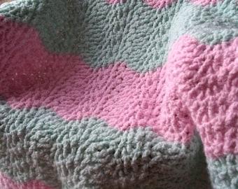 Crossed Double Crochet Ripple Blanket, Baby Blanket, Stroller Blanket, Car Seat Baby Blanket
