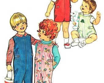 Child's Jumpsuit Pattern 1970s Long Short Shirt Top Vintage Children's Sewing Simplicity Toddler Boy's Girl's Size 1