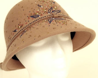 """Hand-Painted Fedora Style Women's Hat--""""Blue Banded"""""""