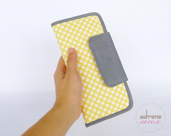 Yellow and grey dot wallet, fabric wallet with zipper pocket, bifold purse