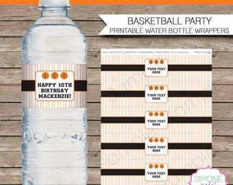 Basketball Party Water Bottle Labels or Wrappers - Orange Black - INSTANT DOWNLOAD & EDITABLE template - type your own text in Adobe Reader