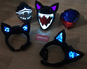 Group Buy - 3pcs Light Up Ears / Kitty Ears  plus 3pcs Light Up Masks for Party Edm DJ Dancers - Cosplay Costume Crew Cyber Style