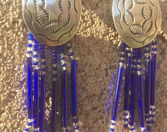Silver concha earrings, vintage southwest style earrings, glass bead earrings, dangling blue bead earrings, silver concho earrings