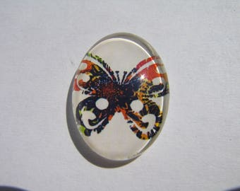 Cabochons 25 x 18 mm with a colorful butterfly image