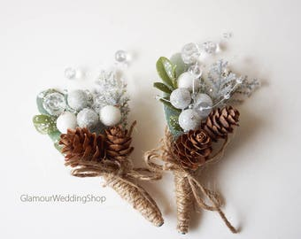 Winter Boutonniere Woodland Wedding Boutonniere Rustic Boutonniere Christmas Wedding Boutonniere