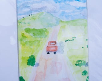 Truck still life watercolor - 5x7 original