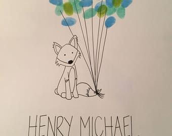 Baby Fox Thumbprint Guestbook for Baby Shower
