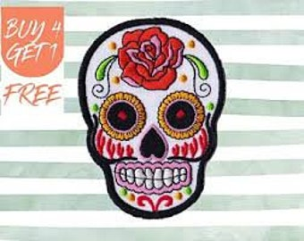 Rose Skeleton Sugar Skull Jacket Patch iron on sew on Embroidery badge / patch