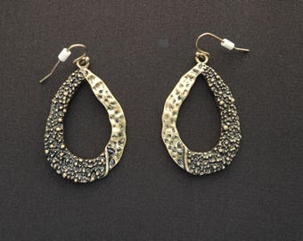 Brutalist Hammered Bronze Tone Metal Pierced Hoop Earrings