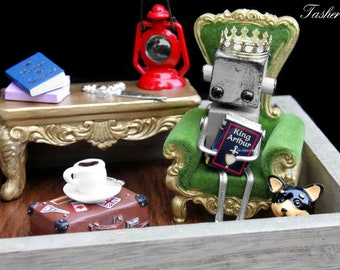 Steampunk Robot Sculpture, Library Medieval Fairy Tale Miniature Art, Found Object Home Decor