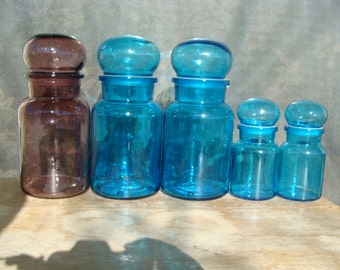 Vintage Belgium Aqua Blue And Amethyst Art Glass Apothecary Canister Chemist Candy Jar Set Of Five Jars With Bubble Top Lids Sealed Lid Type