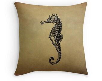 Seahorse Cushion, Seahorse Pillow, Ocean Animals, Sea Horse, Ocean Decor, Brown Cushions, Brown Pillows, Brown Decor, Vintage Decor