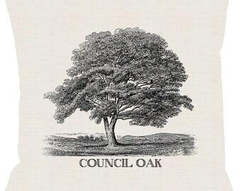 Tulsa Council Oak Tree Pillow Cover