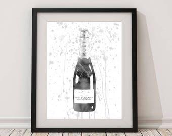 Grey,champagne bottle,champagne watercolor,champagne,champagne wall art, champagne print,gift for women,celebrations.champagne art, Kitchen