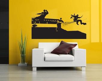 Wall Decal Sticker Parkour Sport Freerunning Freerunner Jump Run Building City Poster ZX013