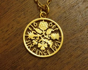 1961 Sixpence - Cut Out Coin Necklace
