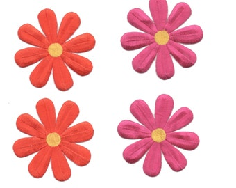 """Daisy Flower Iron On Patch Floral Embroidery Applique 3"""" Diameter"""