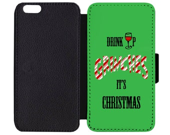 The Grinch Drink Up Grinches It's Christmas Dr Seuss Print Leather Flip Wallet Case Apple iPhone 5 5S SE 6 6S 7 7S 8 8S X Plus