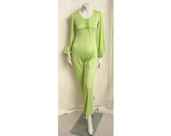 Vintage 1970s Jumpsuit Lime Green with Lace-Up Front, Bishop Sleeves