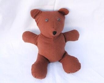 """10"""" Brown Teddy Bear, Flannel Fabric"""