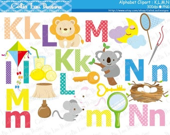 Alphabet clipart : K,L,M,N / Back to School clip art / INSTANT DOWNLOAD (CG171)