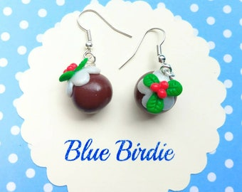 Christmas pudding earrings Christmas pudding jewelry christmas jewellery Christmas earrings figgy pudding earrings stocking filler gifts