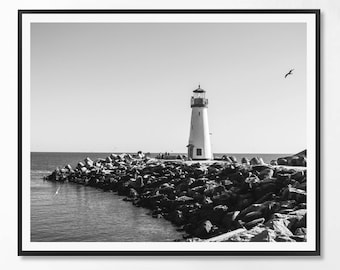 Lighthouse Print, Black and White Photography, Minimal photo, Minimalist, Sea, Ocean, Landscape Photo, Landcape, Scandinavian Printable Art