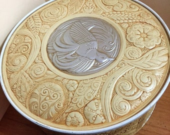 "Vintage Smith Crafted Cookie Cake Tin Embossed Bird Flowers Leaf - 8"" Chicago ART DECO AESTHETIC"