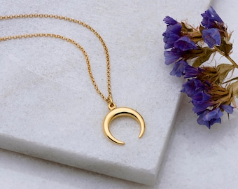 Moon Necklace, Double Horn, Sterling Silver, Charm Necklace, Small