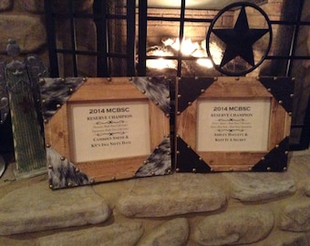 Western Picture Frame, Rustic Cowboy Decor/Award Frame with Cowhide or Leather corners. Perfect for horse show high point awards!