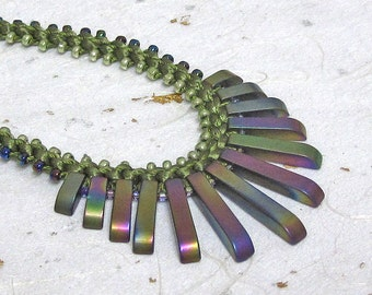 Beaded kumihimo necklace Hemetite necklace Prumihimo necklace