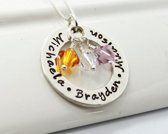 Personalized Mothers Necklace for Mother of Three with Swarovski Birthstone Crystals