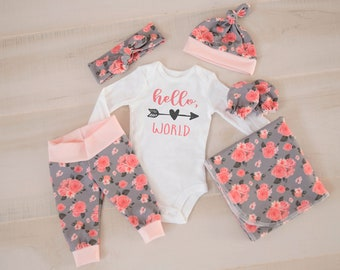 Baby Girl Coming Home Outfit: CHOOSE COMBO Hello World Heart Arrow Bodysuit, Floral Leggings or Shorts, Headband, Hat, Swaddle, Mittens