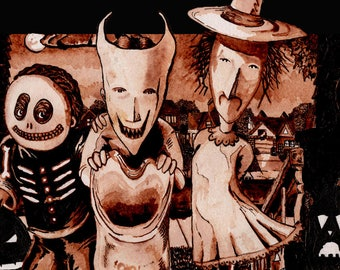 Nightmare Before Christmas | Halloween Art Trick R Treat | Halloween Decor | Tim Burton Poster | Wall Art October Birthday | Halloween