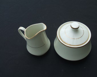Royal Limited Golden Ivory Creamer and Lidded Sugar Bowl